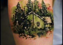 Tatuaje casa bosque