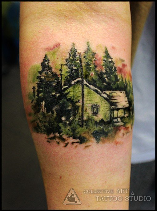 Tatuaje De Casa En El Bosque Tatuajesxd