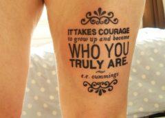 tatuaje texto en la pierna