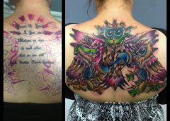 Tatuaje covertura buhos