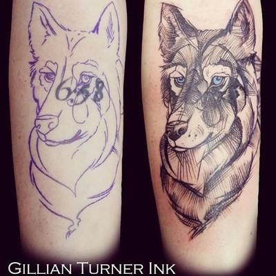 Tatuaje cobertura perro