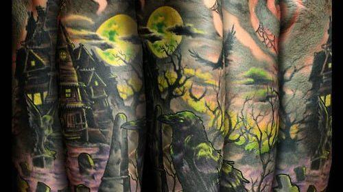 Tatuaje de conejo y ciervo en el brazo