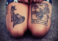 Tatuaje zorro y paisaje