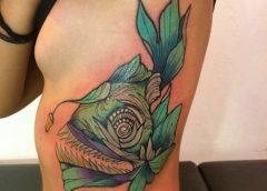 Tatuaje pez abisal verde