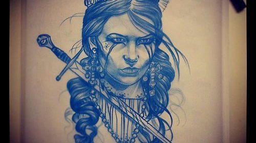 Tatuaje de mujer con pañuelo