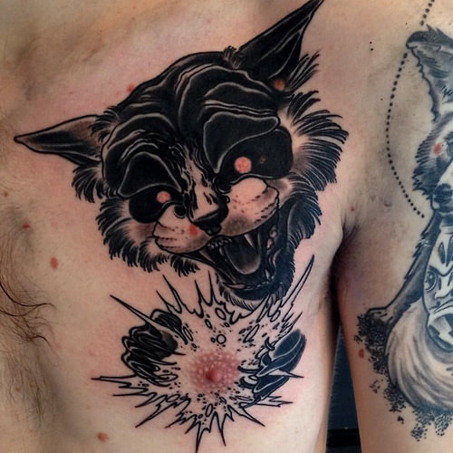 Tatuaje gato atómico