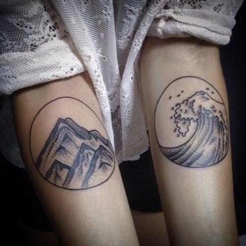 Tatuaje mar y montaña