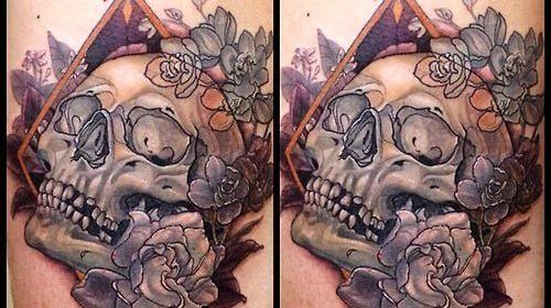 Tatuaje de círculo floral