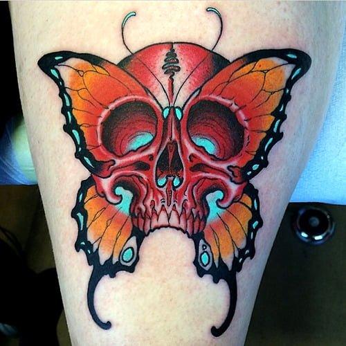 Tatuaje calavera mariposa