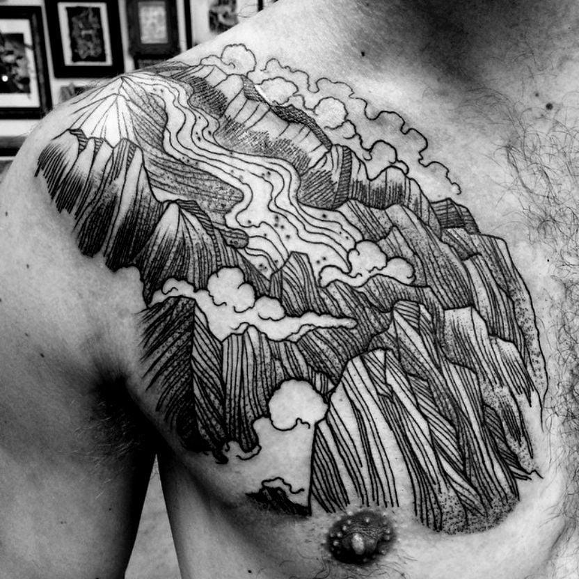 Tatuaje río de lava
