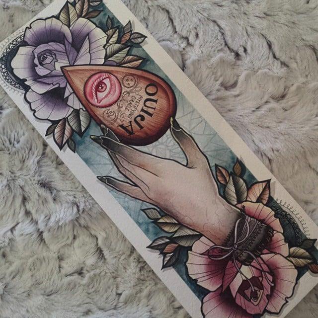 Dibujo preparatorio ouija y rosas