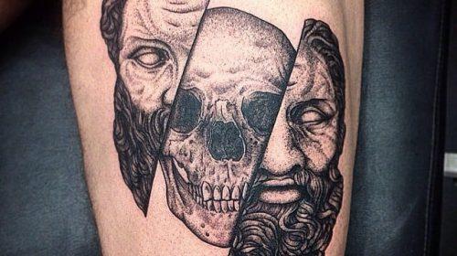 Tatuaje de mujer con los ojos vendados