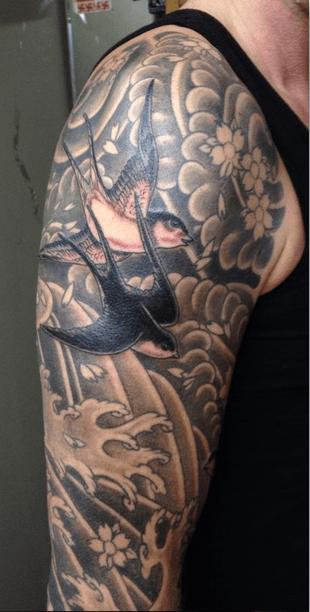 Tatuaje de golondrinas en el brazo