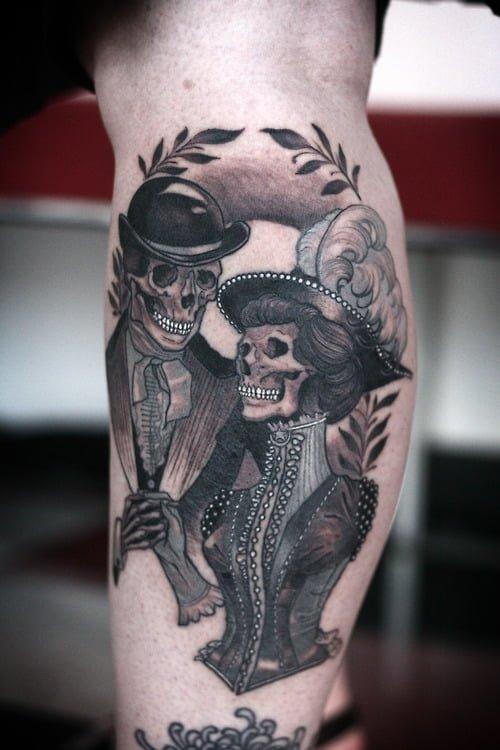 Tatuaje pareja de esqueletos