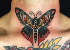 Tatuaje mariposa old school