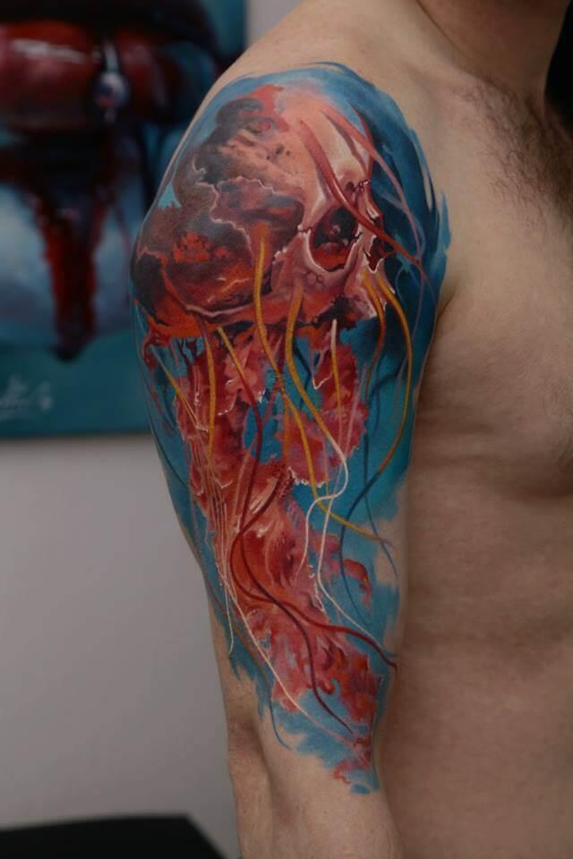 Tatuaje de calavera medusa