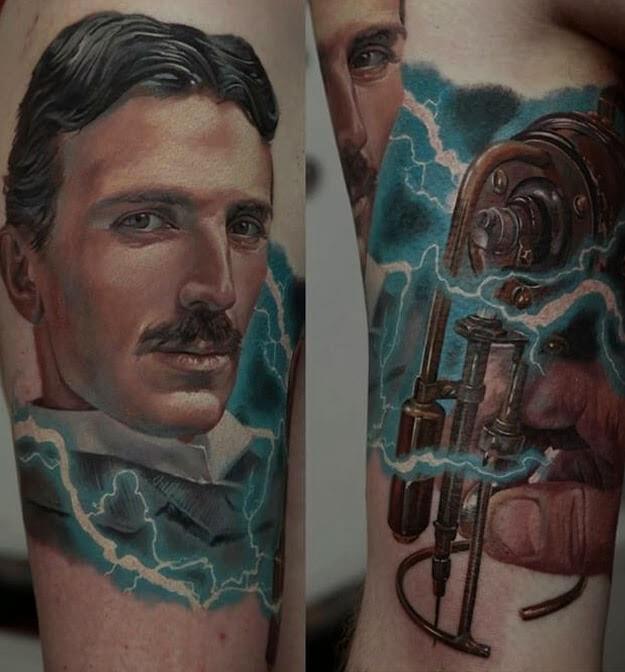 Tatuaje de Nikola Tesla