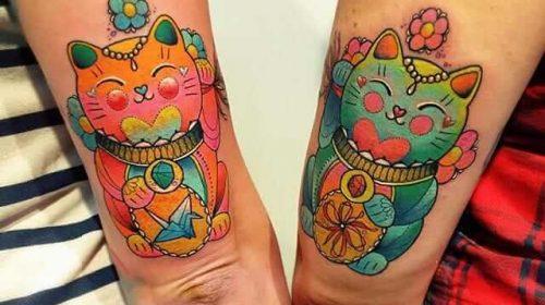 tatuajes de maneki nekos pareja