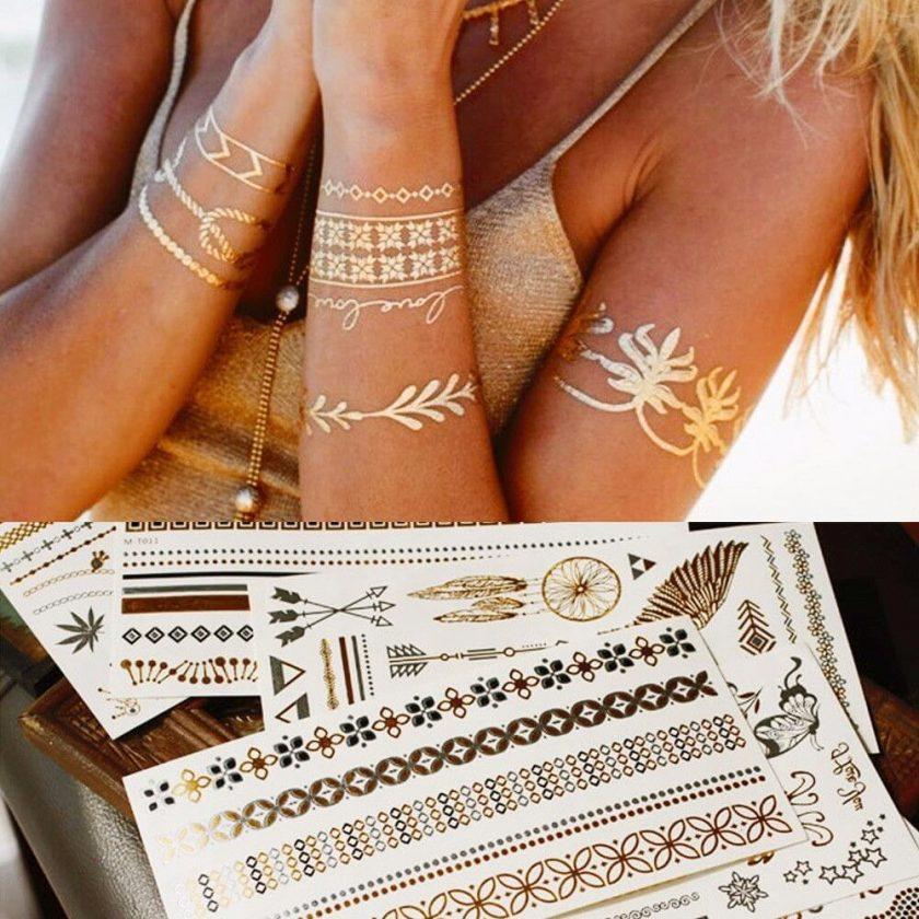 tatuajes flash plateados y dorados